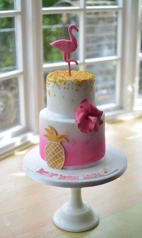 Enjoyable Pink Flamingo Birthday Cake Personalised Birthday Cards Veneteletsinfo