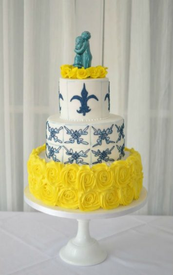 Portuguese Tiles wedding cake with brides topper a gift from the Groom :) At The Christchurch Harbour Hotel.