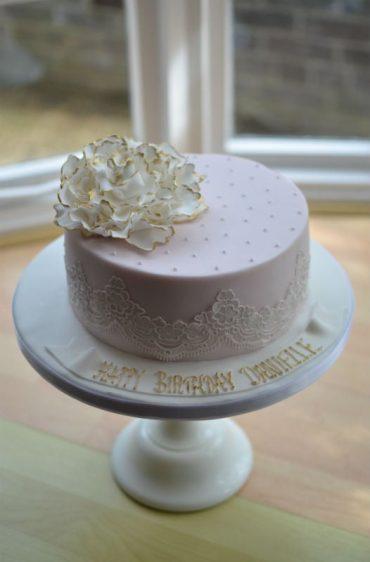 Lace & peony birthday cake