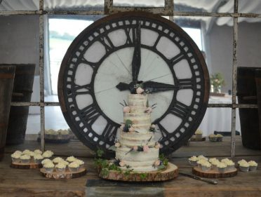 Semi-naked wedding cake at Axnoller House