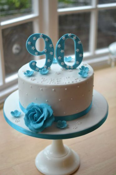 Turquoise 90th cake