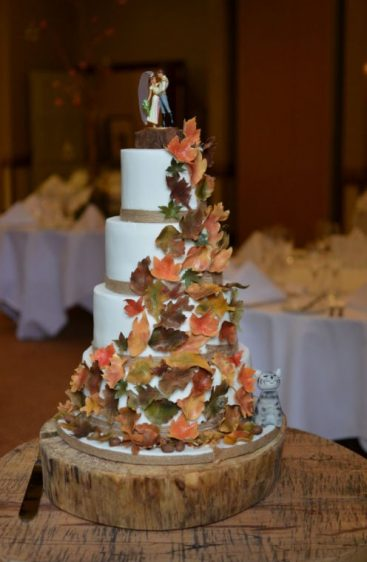 Autumn leaves wedding cake. Handmade sugar leaves.