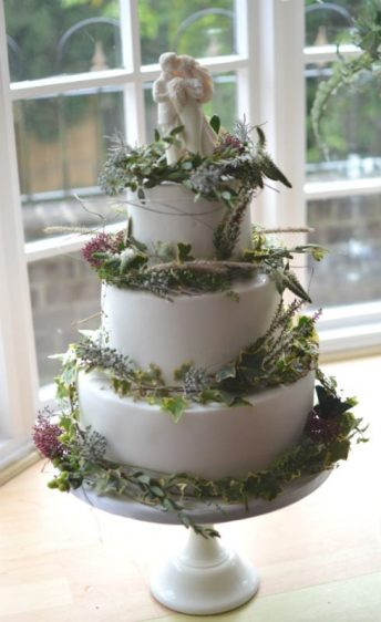 Winter floral wedding cake flowers buy Hill View florist.