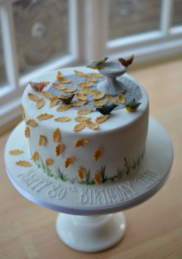 Bird bath autumn birthday cake. Posted to Devon