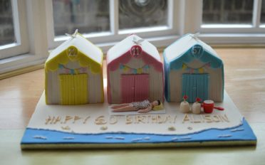 Beach huts birthday cake