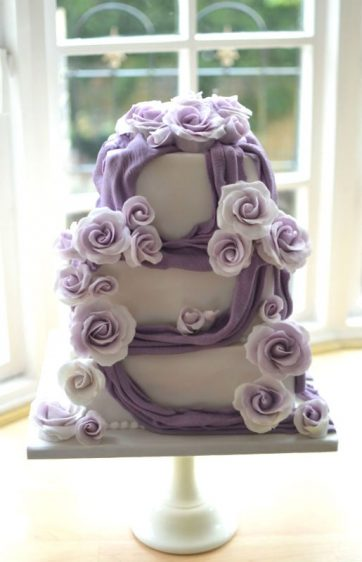 Lilac roses wedding cake delivered to Farnham House Hotel.
