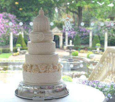 Large 5 tier elegant ivory wedding cake At The Italian Villa