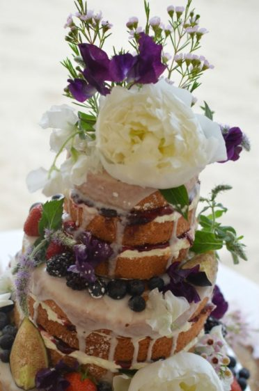 Close up of naked cake