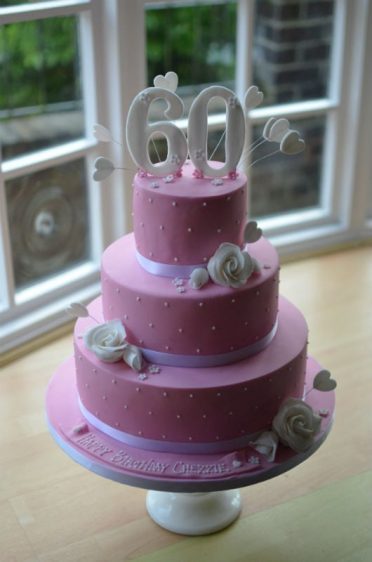 3 tier Pink dotty cake
