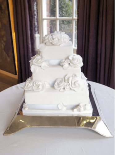 White roses square wedding cake