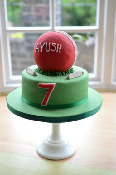 Cricket ball cake.
