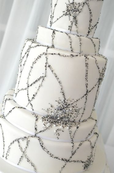 Edible beads wedding cake at Christchurch Harbour Hotel.