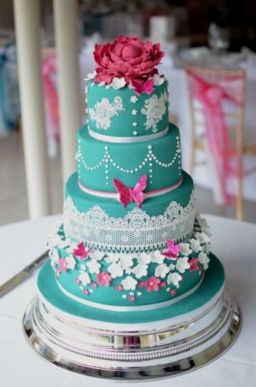 Jade & hot pink wedding cake at The Italian Villa