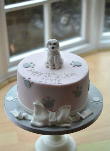 White pet dog birthday cake