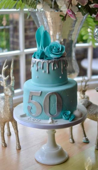 Turquoise silver roses birthday cake