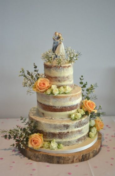 Semi-naked wedding cake at Parkstone yacht club