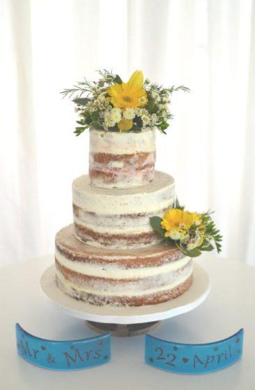 Semi-naked wedding cake at parley Manor