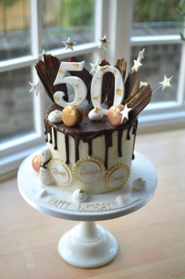 50th Drip Cake With Gold Leaf