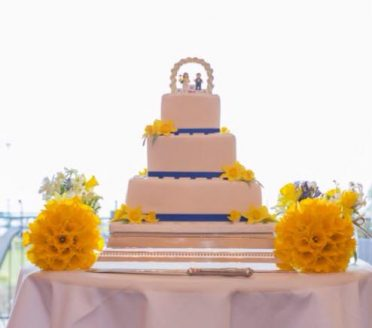 Sugar daffodil & Lego wedding cake