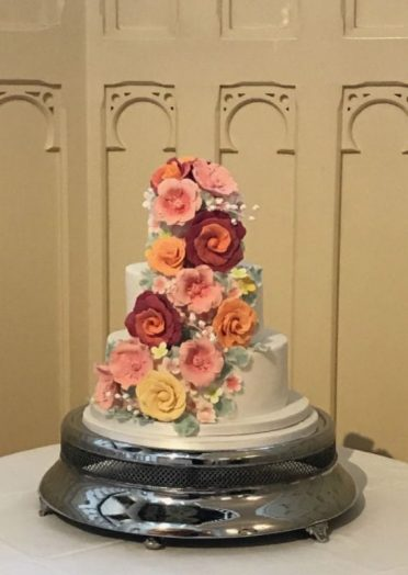 Sugar flowers wedding cake at Elvetham Castle Nr Surrey