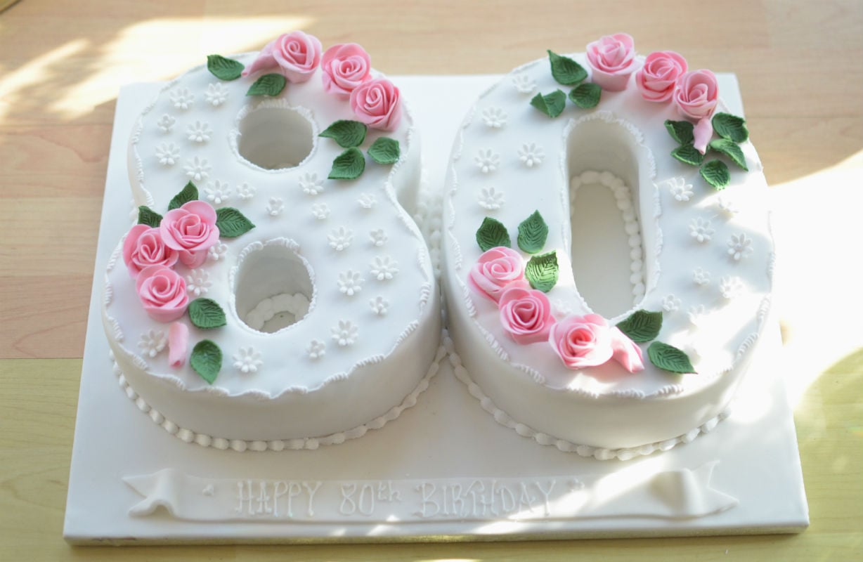 Awesome 80Th Roses Birthday Cake Personalised Birthday Cards Veneteletsinfo