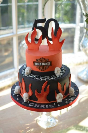 Harley Davidson birthday cake. customer added her own model bike.