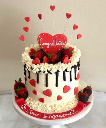 Hearts engagement cake