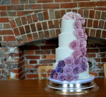 Ombre cascading roses at Highcliffe Castle.