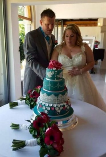 My lovely bride and groom at the Italian Villa