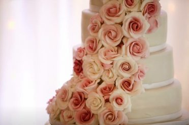Pink roses wedding cake. At Parley Manor