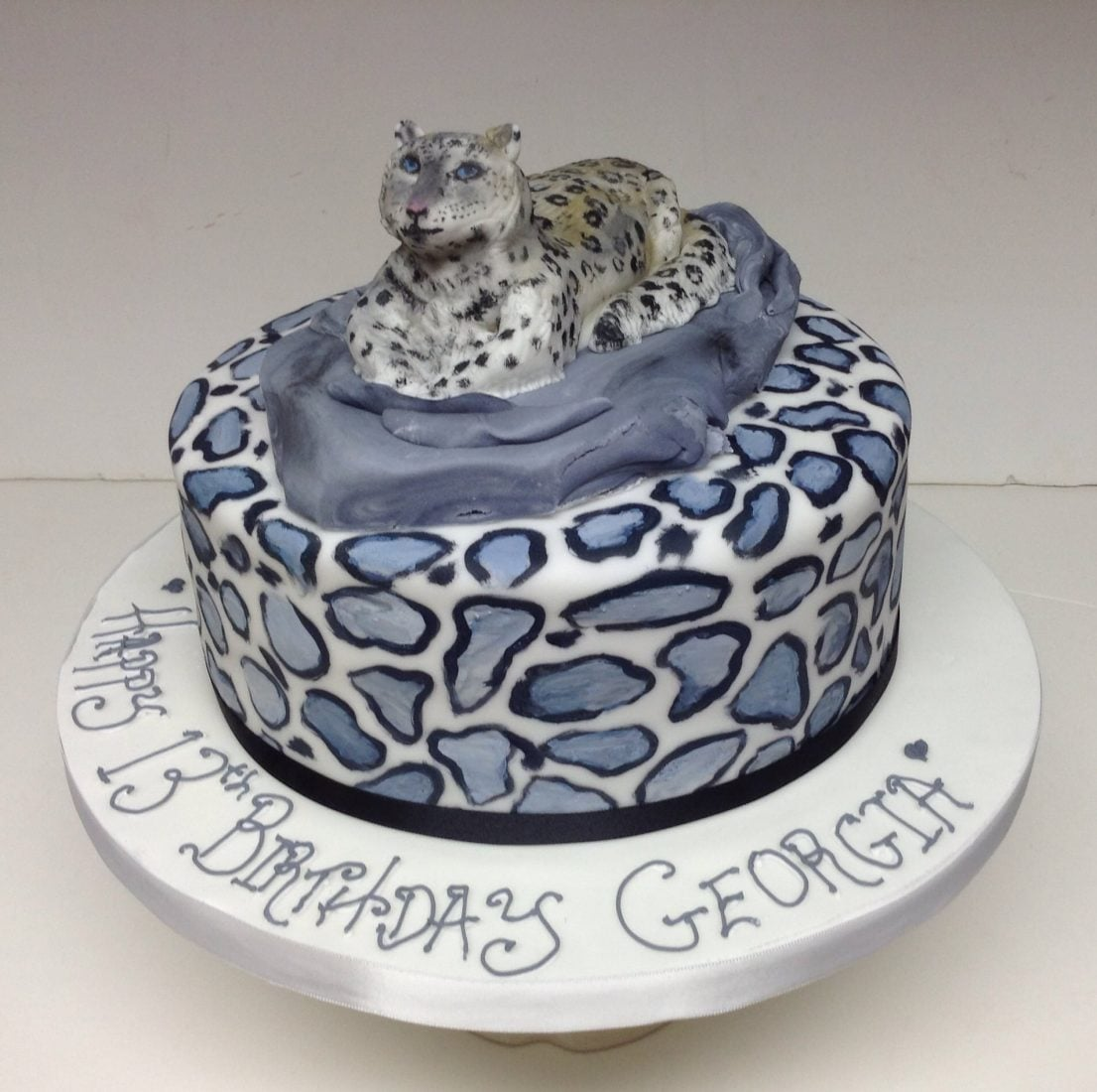 Remarkable Snow Leopard Birthday Cake Funny Birthday Cards Online Aeocydamsfinfo