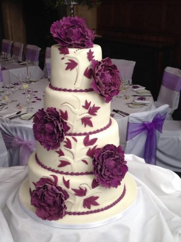 Peonies wedding cake at Rhinefield House