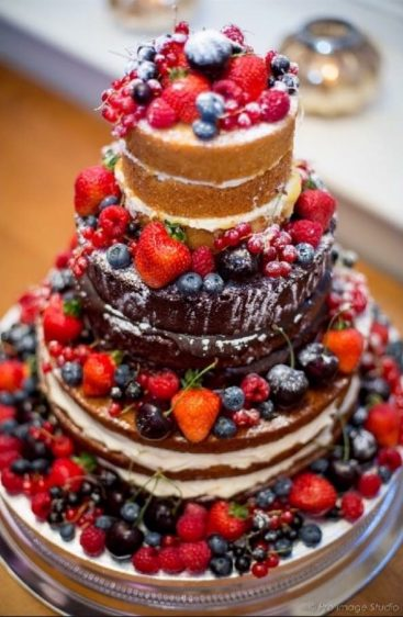 Naked cake with forest fruits.