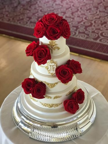 Indian wedding cake at The Pavillion Bournemouth with fresh roses.