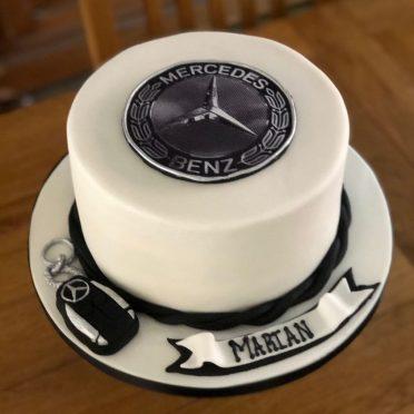 Mercedes birthday cake with key