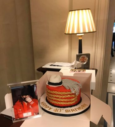 MJ cake hand delivered to the fabulous Lanesborough Hotel Mayfair for a superfan.