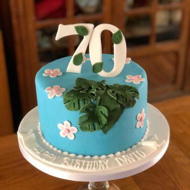 Palm leaves birthday cake