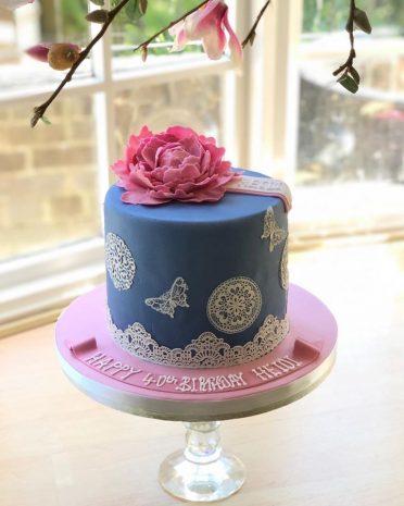 Pink peony & lace cake