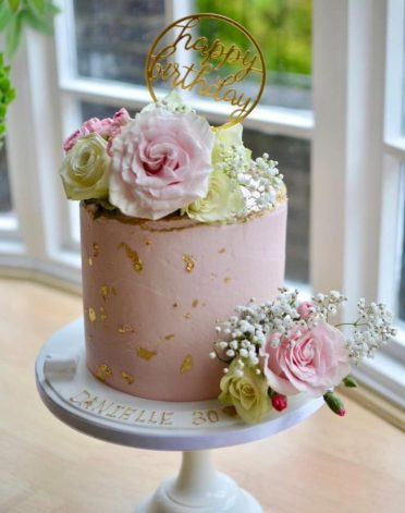 Pink rose & gold leaf with fresh flowers