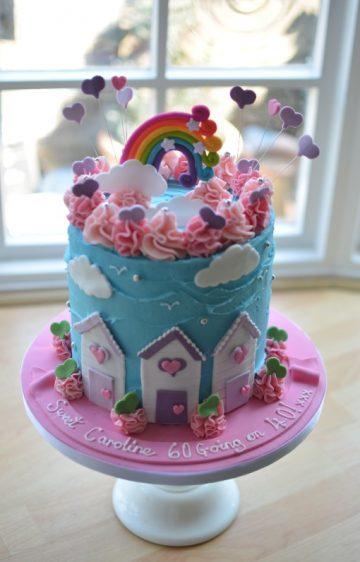 Beach huts & rainbow cake