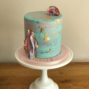 Rock & gold leaf birthday cake