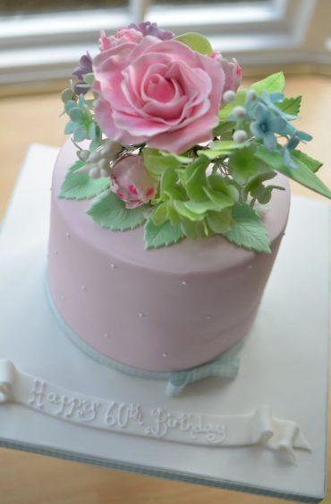 Wired sugar flowers birthday cake
