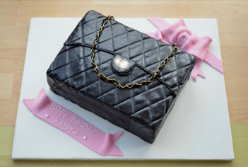 Black quilted handbag cake
