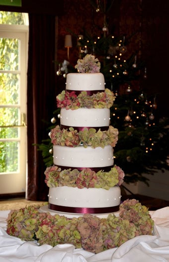 Fresh Hydrangea Christmas wedding at Chewton Glen Hotel