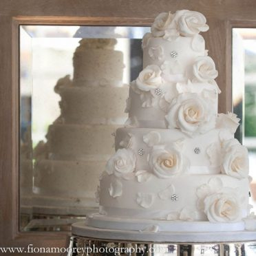 Roses & crystals wedding cake at The Chewton Glen Hotel