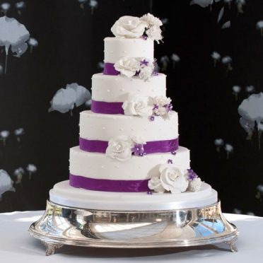 Purple ribbon dotty cake The Chewton Glen Hotel