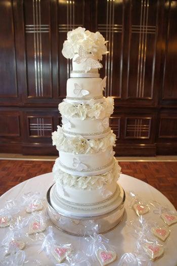 5 tier fresh hydrangeas wedding cake The Chewton Glen Hotel