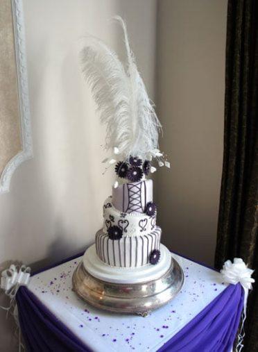 Designed by the bride wonky wedding cake