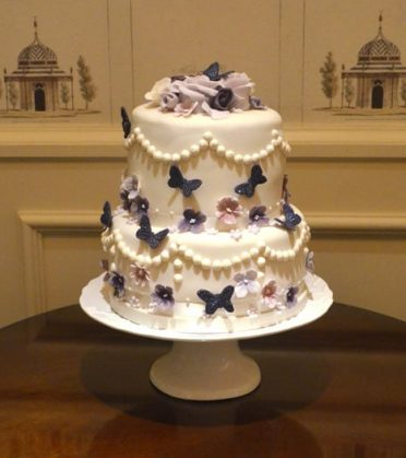 Purple & Lilac wedding cake The Chewton Glen Hotel.