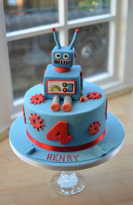 Fabulous Robot Birthday Cake Personalised Birthday Cards Epsylily Jamesorg